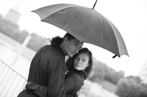 Young Couple on a Rainy Day
